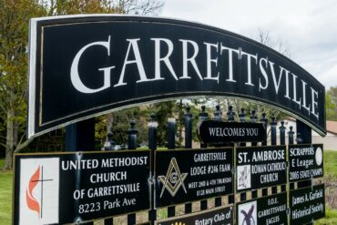 A photo of the road sign at the Garrettsville border