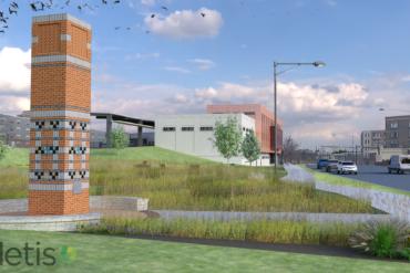 Digital rendering of a chimney swift habitat, a tall, chimney-like monolith.