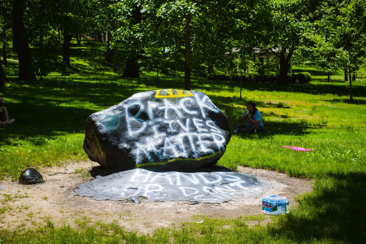 Image of Black Lives Matter painted on the Kent State Rock