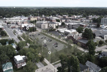 Image of a rendering of the Downtown Ravenna courthouse parking lot