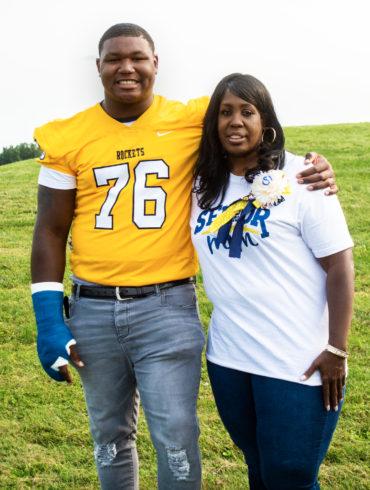 Image of Mike Hall Jr. and his mother