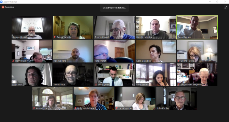 Screenshot of the Aurora City Council meeting on Zoom