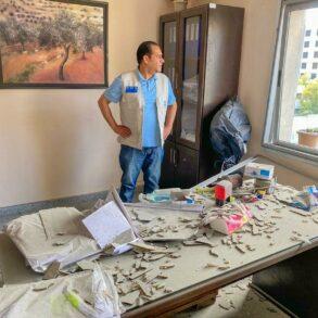 Image of the damaged Palestine Children's Relief Fund office