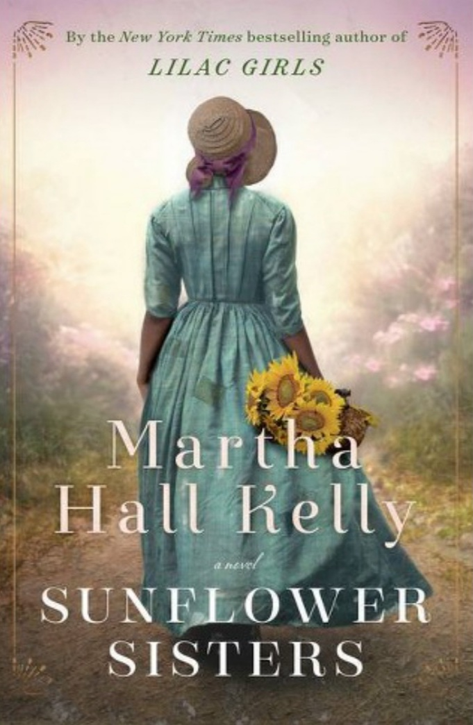 Image of a book cover depicting a black woman in a blue dress and a bonnet walking away, holding a bunch of sunflowers with the title Sunflower Sisters by Martha Hall Kelly