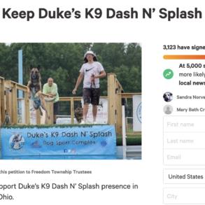 Image of the Change.org petition for Duke's K9 Dash N' Splash