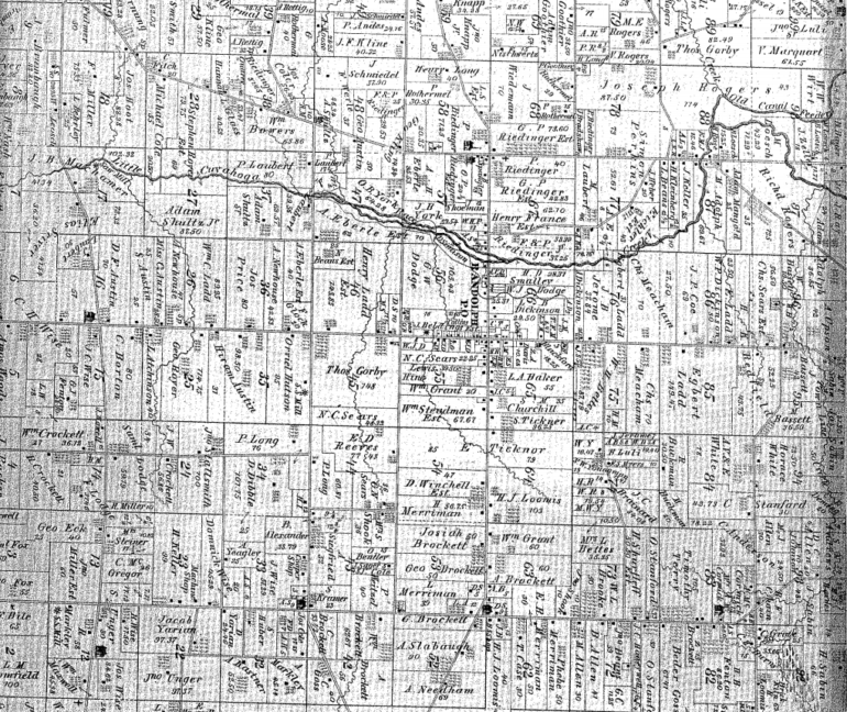 Image of a 19th century map of Randolph, Ohio, parcels