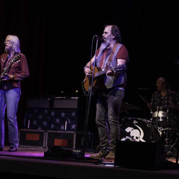Image of the band Steve Earle and The Dukes on stage at the Kent Stage
